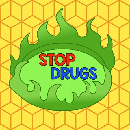 Word writing text Stop Drugs. Business photo showcasing put an end on dependence on substances such as heroin or cocaine Asymmetrical uneven shaped format pattern object outline multicolour design Stock Photo