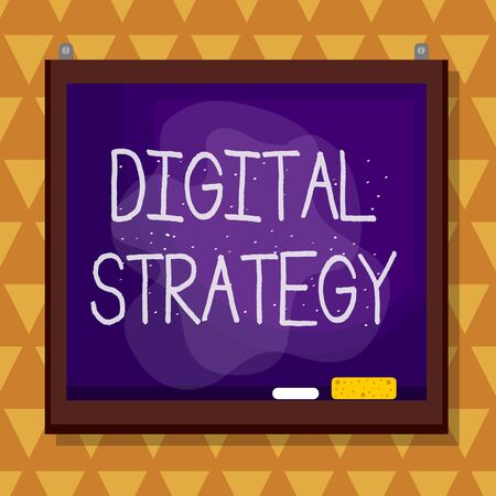 Text sign showing Digital Strategy. Business photo text plan for maximizing the business benefits of data assets Asymmetrical uneven shaped format pattern object outline multicolour design Stok Fotoğraf