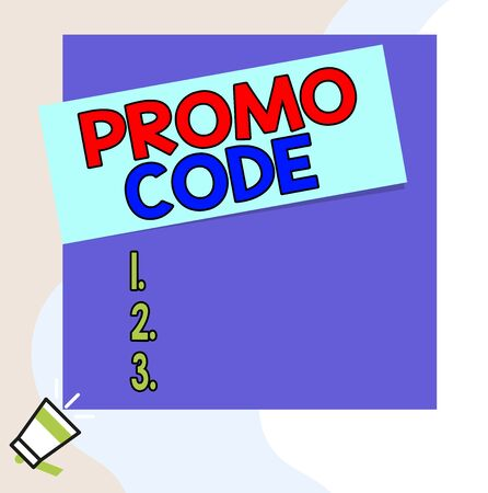 Word writing text Promo Code. Business photo showcasing digital numbers that give you good discount on certain product Speaking trumpet on left bottom and paper attached to rectangle background