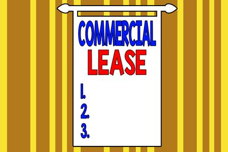Handwriting text writing Commercial Lease. Conceptual photo contract between a landlord and a business property tenants Abstract background multicolored intersecting striped pattern chromatic