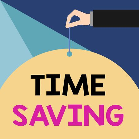 Writing note showing Time Saving. Business concept for the act of reducing the amount of time needed to do something Male hand arm needle punching big blank balloon geometrical background