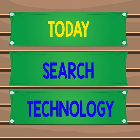 Conceptual hand writing showing Search Technology. Concept meaning service that allows Internet users to search for content Wooden panel attached nail on colorful background plank wood