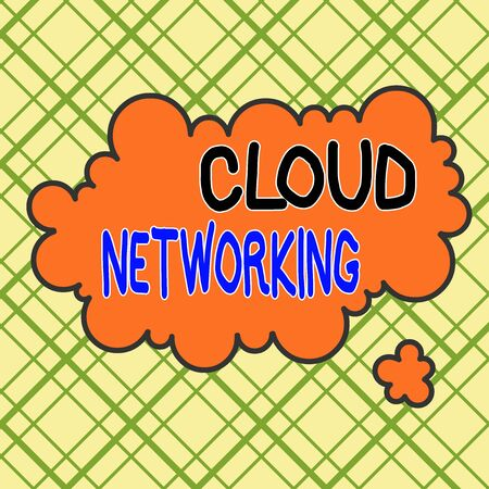Writing note showing Cloud Networking. Business concept for sourcing and utilization of one or more network resources Asymmetrical uneven shaped pattern object multicolour design
