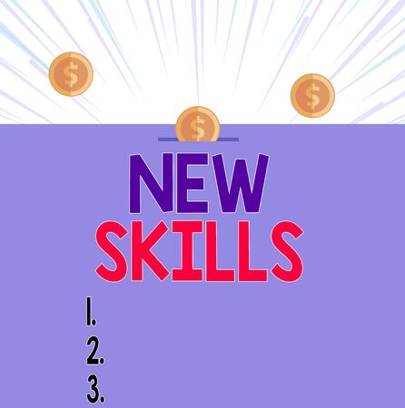 Text sign showing New Skills. Business photo showcasing Recently Acquired Learned Abilities Knowledge Competences Front view close up three penny coins icon one entering collecting box slot Zdjęcie Seryjne