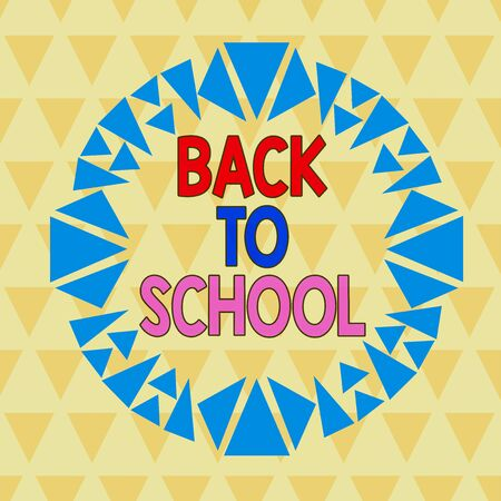 Text sign showing Back To School. Business photo text New Teachers Friends Books Uniforms Promotion Tuition Fee Asymmetrical uneven shaped format pattern object outline multicolour design