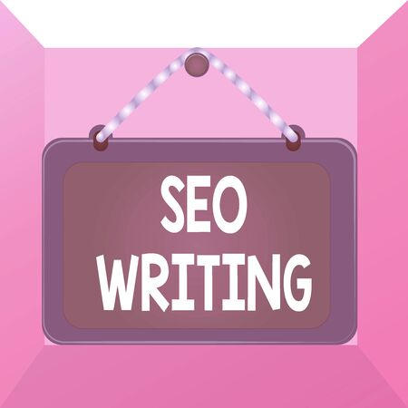 Conceptual hand writing showing Seo Writing. Concept meaning grabbing the attention of the search engines using specific word Board fixed nail frame colored background rectangle panel