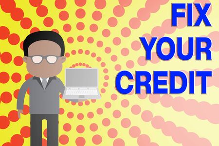 Conceptual hand writing showing Fix Your Credit. Concept meaning Keep balances low on credit cards and other credit Man in suit wearing eyeglasses holding open laptop photo Art Stockfoto