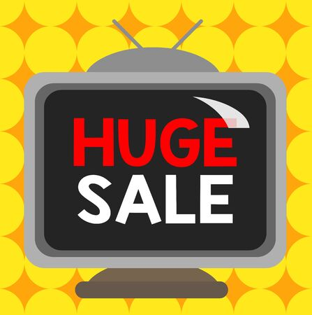 Conceptual hand writing showing Huge Sale. Concept meaning putting products on high discount Great price Black Friday Square rectangle unreal cartoon wood on the coloured wall
