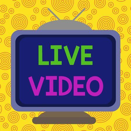 Text sign showing Live Video. Business photo text broadcast a live video or streamingfeed to an online audience Square rectangle old multicoloured painting television picture wood design