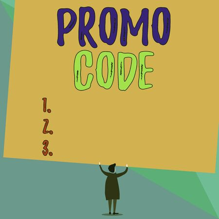 Conceptual hand writing showing Promo Code. Concept meaning digital numbers that give you good discount on certain product Short hair woman dress hands up holding blank rectangle