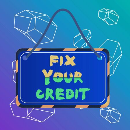 Word writing text Fix Your Credit. Business photo showcasing Keep balances low on credit cards and other credit Board attached string color black yellow frame empty blank rectangle shape