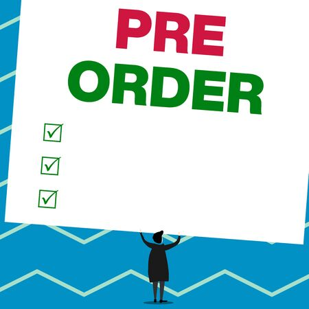 Handwriting text writing Pre Order. Conceptual photo an order for a product placed before it is available for purchase Man stands in back view under huge empty blank big tilted rectangle board