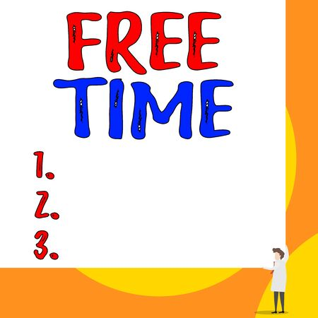 Conceptual hand writing showing Free Time. Concept meaning time available for hobbies and other activities that you enjoy Young woman holding two hands right corner big rectangle