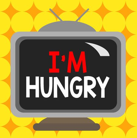 Conceptual hand writing showing I M Hungry. Concept meaning having a strong wish or desire for something to put on stomach Square rectangle unreal cartoon wood on the coloured wall