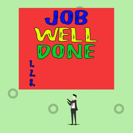 Word writing text Job Well Done. Business photo showcasing Well Performed You did it Cheers Approval Par Accomplished Isolated view young man standing pointing upwards two hands big rectangle