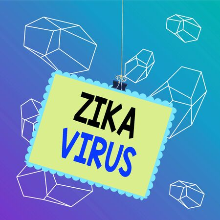 Word writing text Zika Virus. Business photo showcasing caused by a virus transmitted primarily by Aedes mosquitoes Stamp stuck binder clip paper clips square color frame rounded tip sticker Reklamní fotografie