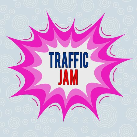 Conceptual hand writing showing Traffic Jam. Concept meaning a large number of vehicles close together and unable to move Asymmetrical uneven shaped pattern object multicolour design