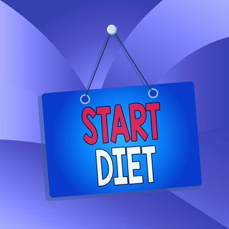 Handwriting text Start Diet. Conceptual photo special course food to which demonstrating restricts themselves Colored memo reminder empty board blank space attach background rectangle