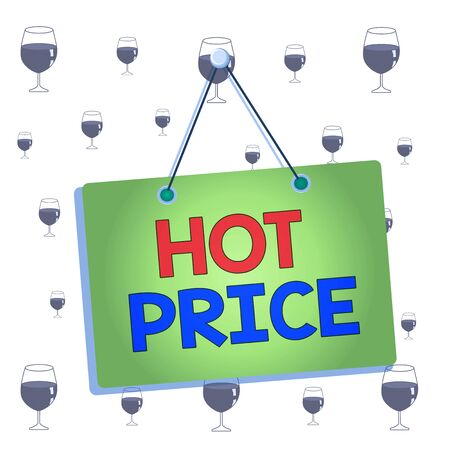 Text sign showing Hot Price. Business photo showcasing Buyer or seller can obtain something for a product sold or buy Colored memo reminder empty board blank space attach background rectangle