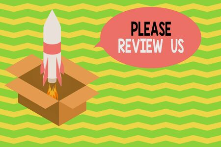 Word writing text Please Review Us. Business photo showcasing Give a feedback Opinion Comments Quality of service Fire launching rocket carton box. Starting up project. Fuel inspiration Stockfoto