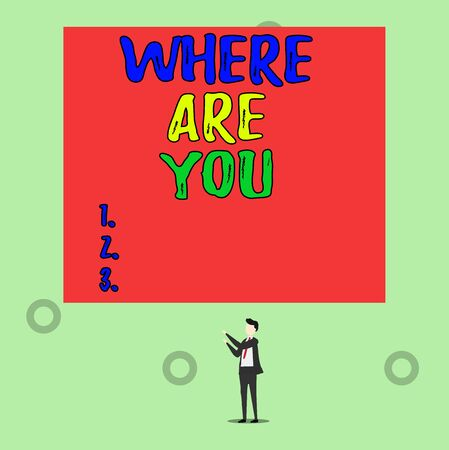 Word writing text Where Are You. Business photo showcasing Give us your location address direction point of reference Isolated view young man standing pointing upwards two hands big rectangle Stok Fotoğraf