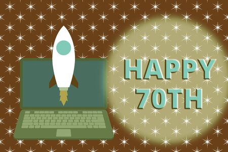 Word writing text Happy 70Th. Business photo showcasing a joyful occasion for special event to mark the 70th year Launching rocket up laptop . Startup project. Developing goal objectives