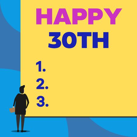 Writing note showing Happy 30Th. Business concept for a joyful occasion for special event to mark the 30th year Back view young woman watching blank big rectangle Stok Fotoğraf