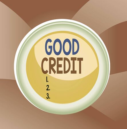 Handwriting text Good Credit. Conceptual photo borrower has a relatively high credit score and safe credit risk Circle button colored sphere switch center background middle round shaped 版權商用圖片