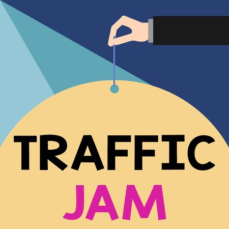 Writing note showing Traffic Jam. Business concept for a large number of vehicles close together and unable to move Male hand arm needle punching big blank balloon geometrical background Reklamní fotografie