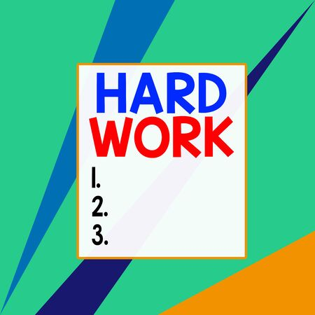 Conceptual hand writing showing Hard Work. Concept meaning always putting a lot of effort and care into work or endurance Square rectangle paper sheet load with full of pattern theme
