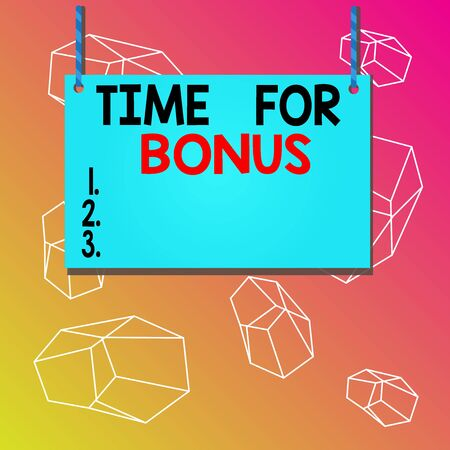 Word writing text Time For Bonus. Business photo showcasing a sum of money added to a demonstrating s is wages as a reward Wooden board wood rectangle shape empty frame fixed colorful striped string