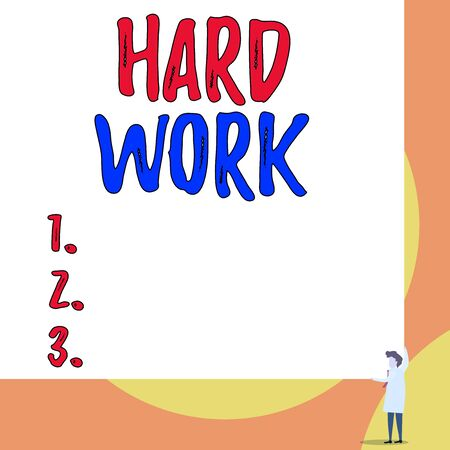 Conceptual hand writing showing Hard Work. Concept meaning always putting a lot of effort and care into work or endurance Young woman holding two hands right corner big rectangle Banco de Imagens