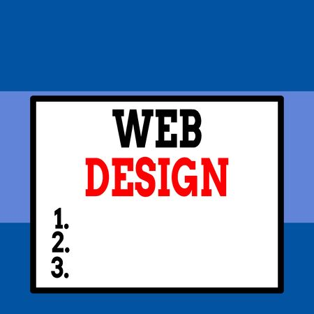 Conceptual hand writing showing Web Design. Concept meaning Website development Designing and process of creating websites Close up view big blank rectangle abstract geometrical background