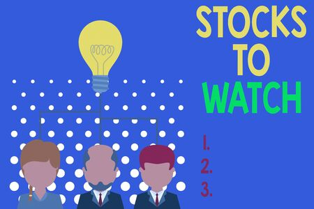 Writing note showing Stocks To Watch. Business concept for being heavy broker and watch every increase decrease Group three executive persons sharing idea icon. Startup team meeting