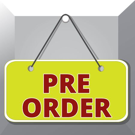 Conceptual hand writing showing Pre Order. Concept meaning an order for a product placed before it is available for purchase Memo reminder empty board attached background rectangle
