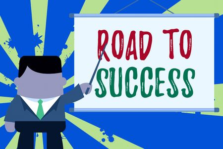 Text sign showing Road To Success. Business photo text studying really hard Improve yourself to reach dreams wishes Businessman standing in front projector screen pointing project idea Imagens