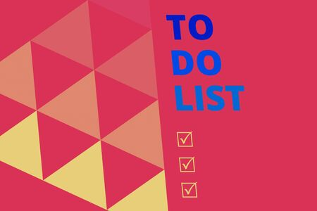 Writing note showing To Do List. Business concept for A structure that usualy made in paper contining task of yours Geometric Background. Triangles Pattern for Business Presentations. Web