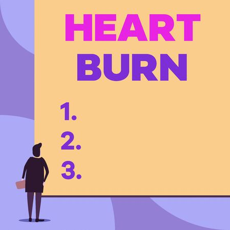 Writing note showing Heart Burn. Business concept for a burning sensation or pain in the throat from acid reflux Back view young woman watching blank big rectangle