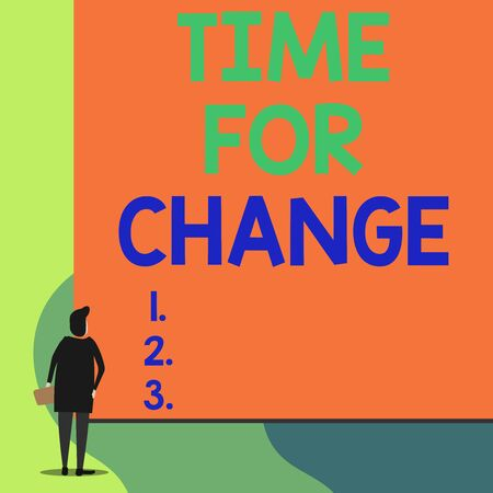 Writing note showing Time For Change. Business concept for Changing Moment Evolution New Beginnings Chance to Grow Back view young woman watching blank big rectangle