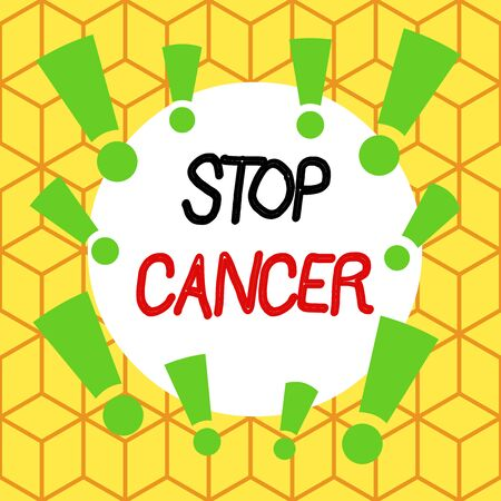 Text sign showing Stop Cancer. Business photo text prevent the uncontrolled growth of abnormal cells in the body Asymmetrical uneven shaped format pattern object outline multicolour design Standard-Bild - 134959207