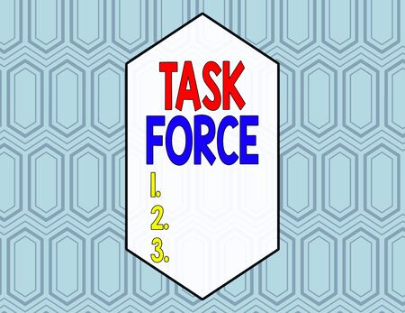 Conceptual hand writing showing Task Force. Concept meaning a group of showing who are brought together to do a particular job Seamless Hexagon Tiles in Line Perspective Depth Deepness