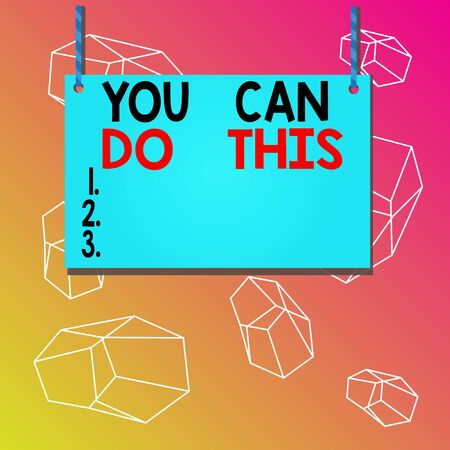 Word writing text You Can Do This. Business photo showcasing Eagerness and willingness to overcome challenges in life Wooden board wood rectangle shape empty frame fixed colorful striped string