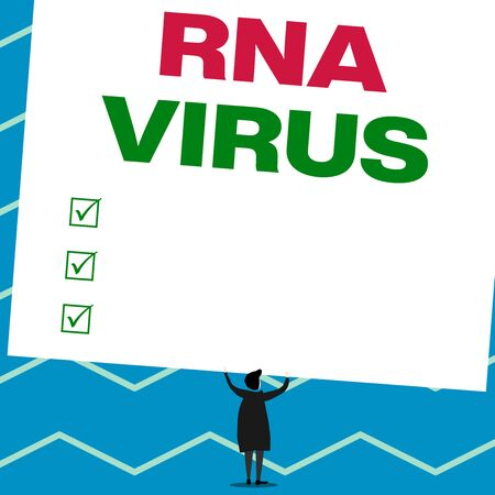 Handwriting text writing Rna Virus. Conceptual photo a virus genetic information is stored in the form of RNA Man stands in back view under huge empty blank big tilted rectangle board