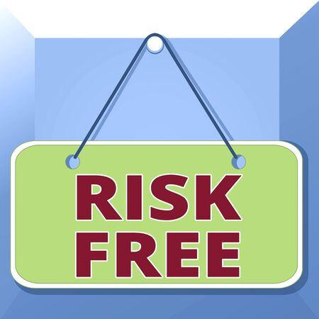 Conceptual hand writing showing Risk Free. Concept meaning used to describe something that does not involve any danger Memo reminder empty board attached background rectangle