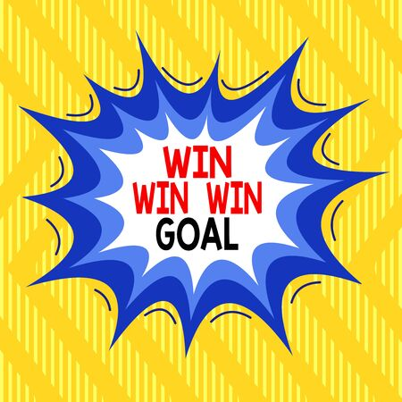 Text sign showing Win Win Win Goal. Business photo showcasing Approach that aims to satisfy all parties involved Asymmetrical uneven shaped format pattern object outline multicolour design