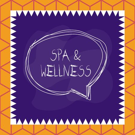 Conceptual hand writing showing Spa And Wellness. Concept meaning Place where showing go to improve their health Relaxation Speaking bubble inside asymmetrical object multicolor design Фото со стока - 134964316
