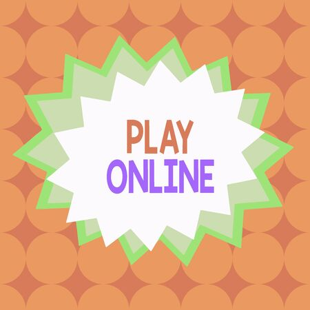 Text sign showing Play Online. Business photo text a video game played over some form of computer network Asymmetrical uneven shaped format pattern object outline multicolour design 스톡 콘텐츠