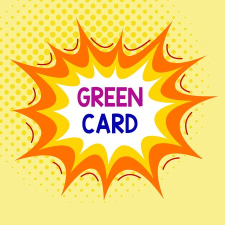 Word writing text Green Card. Business photo showcasing permit allowing a foreign national to live peranalysisently in the US Asymmetrical uneven shaped format pattern object outline multicolour design