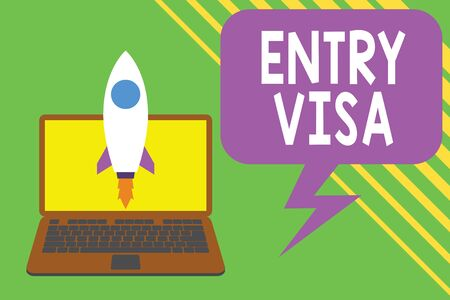 Handwriting text writing Entry Visa. Conceptual photo permission to enter a country of which you are not a national Launching rocket up laptop . Startup project. Developing goal objectives