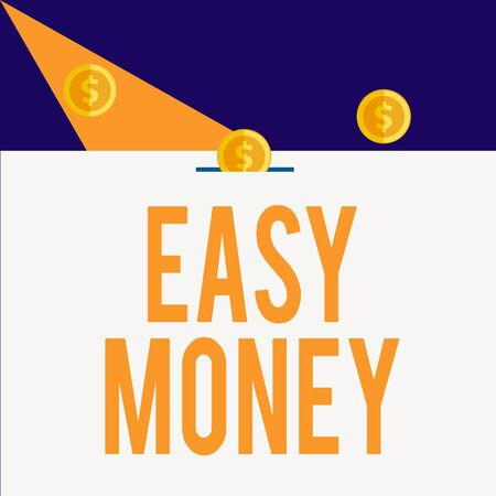 Writing note showing Easy Money. Business concept for money that is easily have and sometimes dishonestly earned Three gold spherical coins value thousand dollars bounce to piggy bank Banco de Imagens